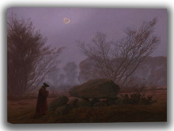 Friedrich, Caspar David: A Walk at Dusk (Man Contemplating a Megalith). Fine Art Canvas. Sizes: A4/A3/A2/A1 (003887)